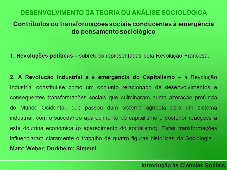 Introdução às Ciências Sociais DESENVOLVIMENTO DA TEORIA OU ANÁLISE SOCIOLÓGICA Contributos ou transformações sociais conducentes à emergência do pens