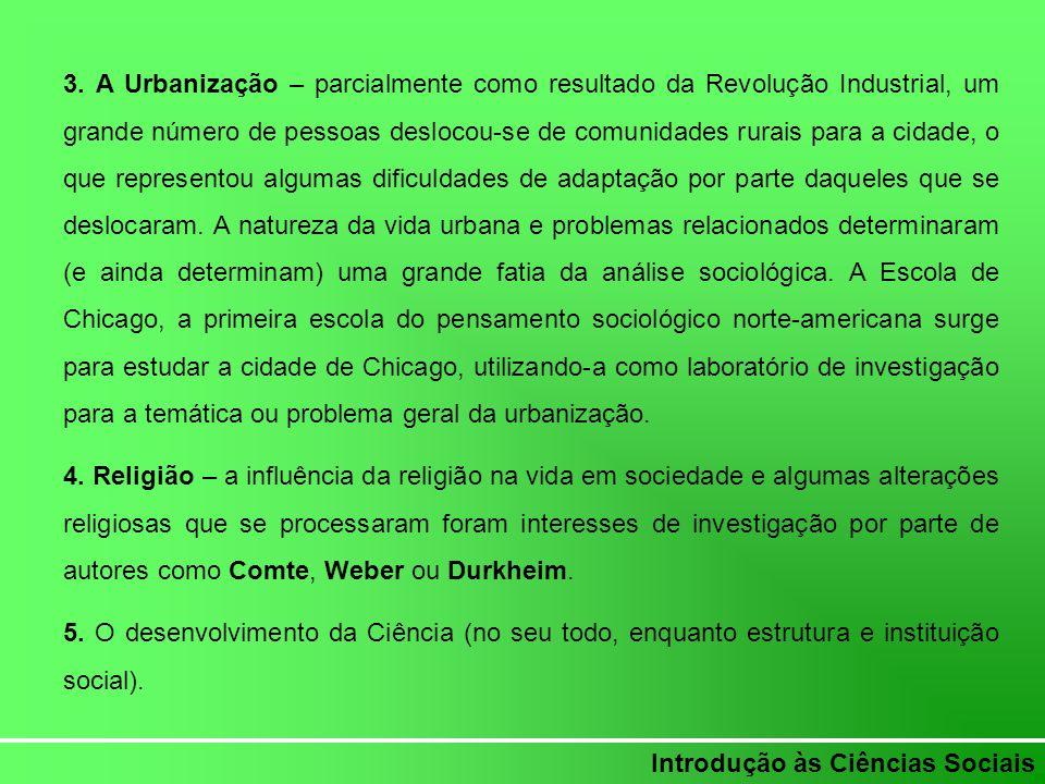 Introdução às Ciências Sociais Contributos intelectuais para a emergência do pensamento sociológico 1.