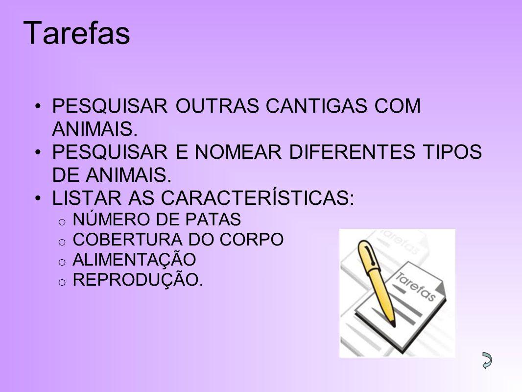 Tarefas PESQUISAR OUTRAS CANTIGAS COM ANIMAIS.PESQUISAR E NOMEAR DIFERENTES TIPOS DE ANIMAIS.