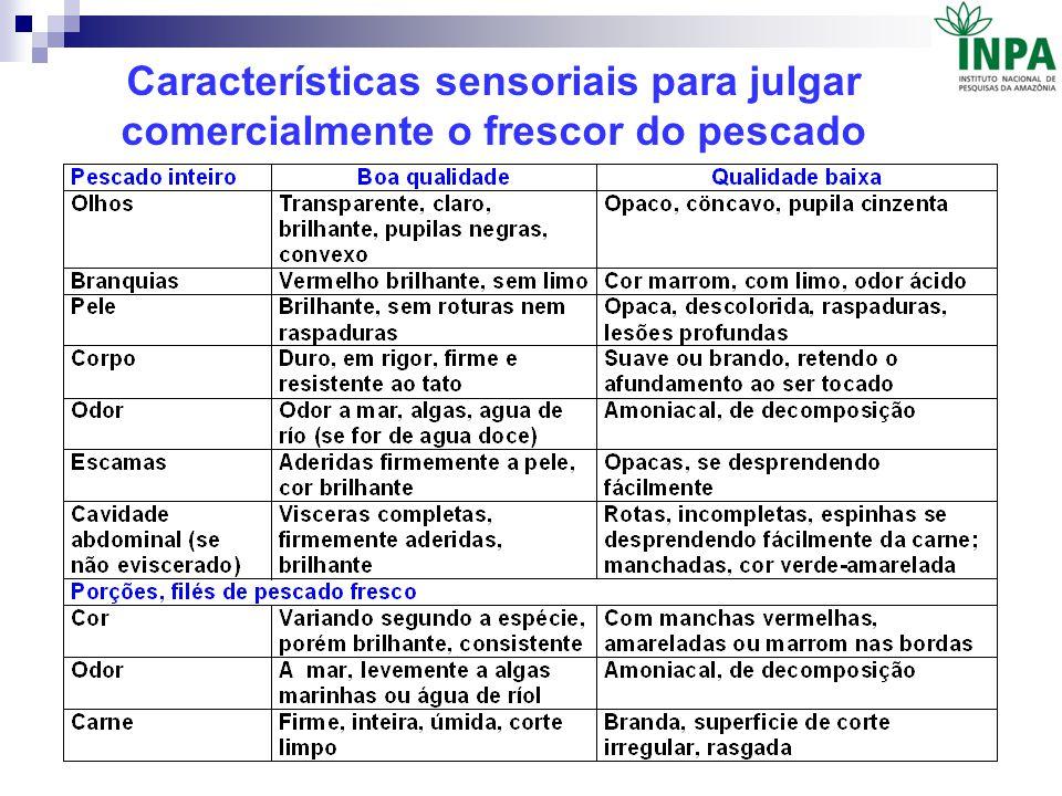 Características sensoriais para julgar comercialmente o frescor do pescado