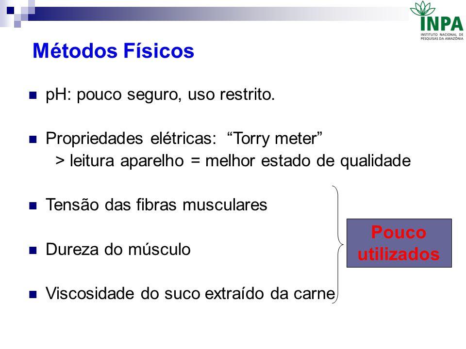 """Métodos Físicos pH: pouco seguro, uso restrito. Propriedades elétricas: """"Torry meter"""" > leitura aparelho = melhor estado de qualidade Tensão das fibra"""