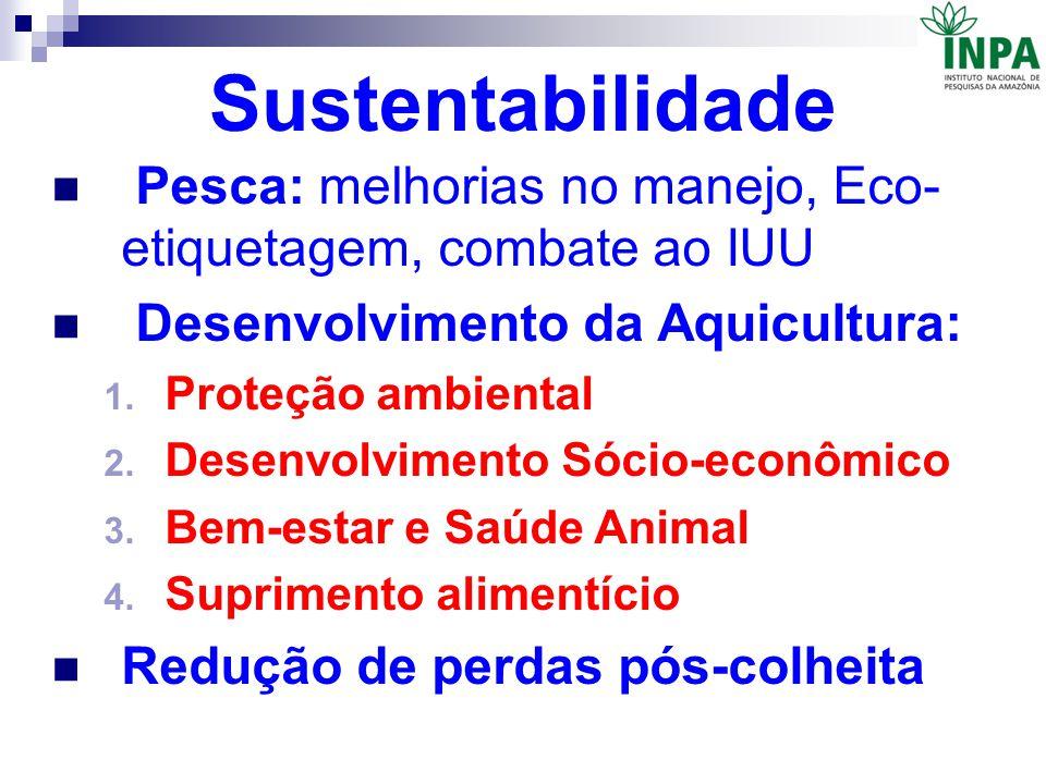 Sustentabilidade Pesca: melhorias no manejo, Eco- etiquetagem, combate ao IUU Desenvolvimento da Aquicultura: 1. Proteção ambiental 2. Desenvolvimento