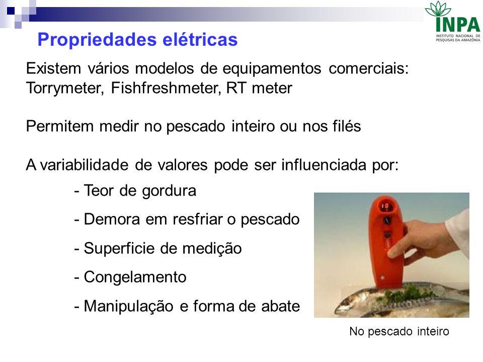 Existem vários modelos de equipamentos comerciais: Torrymeter, Fishfreshmeter, RT meter Permitem medir no pescado inteiro ou nos filés A variabilidade
