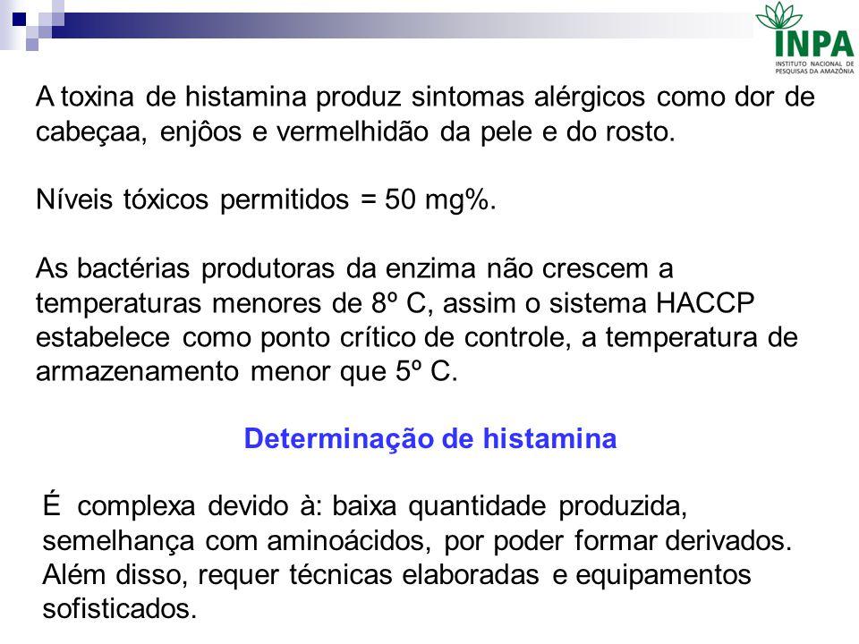 A toxina de histamina produz sintomas alérgicos como dor de cabeçaa, enjôos e vermelhidão da pele e do rosto. Níveis tóxicos permitidos = 50 mg%. As b