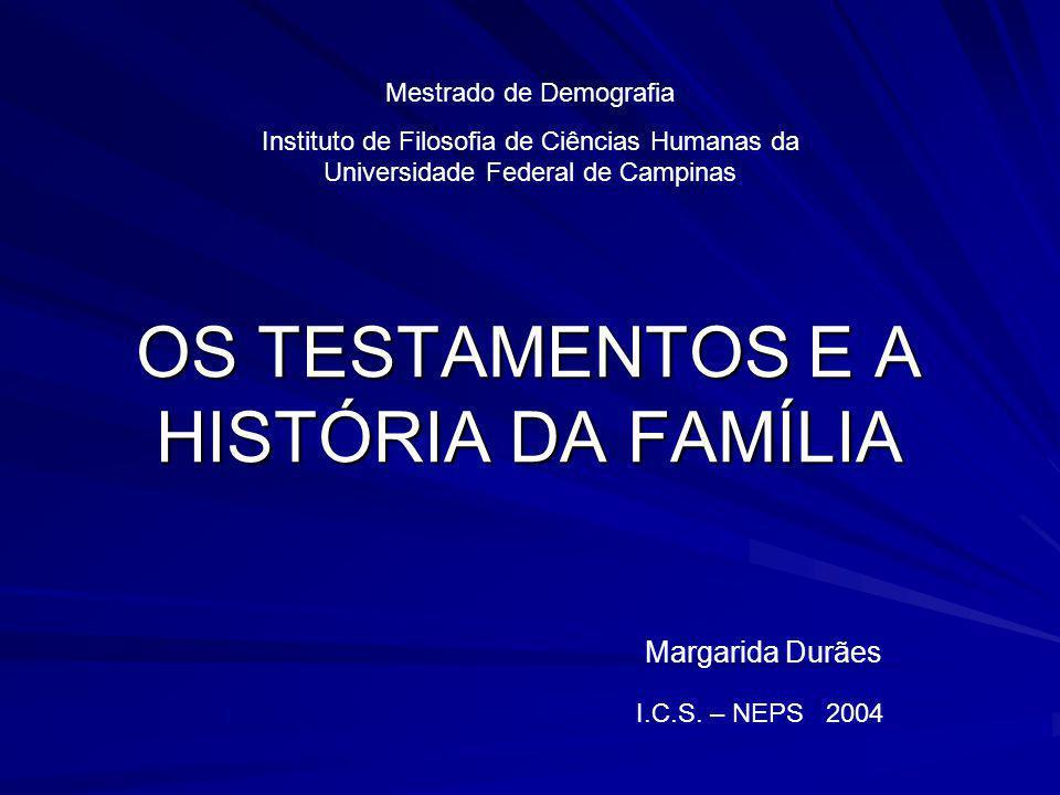 OS TESTAMENTOS E A HISTÓRIA DA FAMÍLIA Margarida Durães Mestrado de Demografia Instituto de Filosofia de Ciências Humanas da Universidade Federal de C