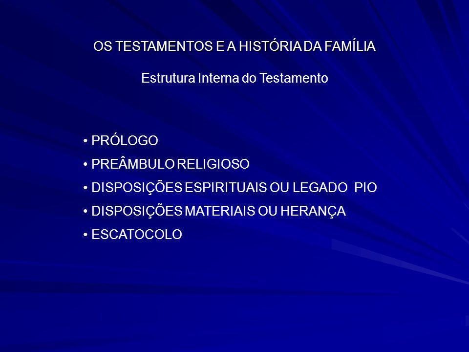 OS TESTAMENTOS E A HISTÓRIA DA FAMÍLIA Estrutura Interna do Testamento PRÓLOGO PREÂMBULO RELIGIOSO DISPOSIÇÕES ESPIRITUAIS OU LEGADO PIO DISPOSIÇÕES M
