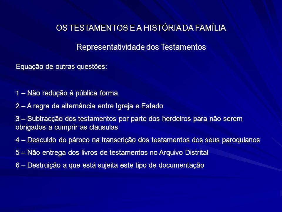 OS TESTAMENTOS E A HISTÓRIA DA FAMÍLIA Representatividade dos Testamentos Equação de outras questões: 1 – Não redução à pública forma 2 – A regra da a