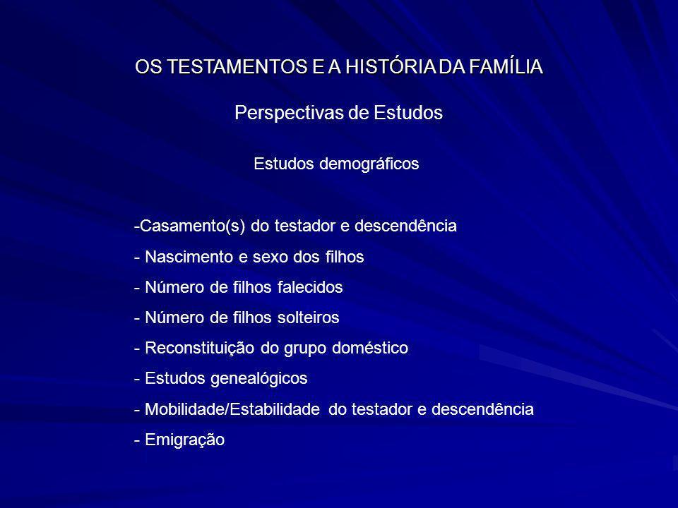 OS TESTAMENTOS E A HISTÓRIA DA FAMÍLIA Perspectivas de Estudos Estudos demográficos -Casamento(s) do testador e descendência - Nascimento e sexo dos f
