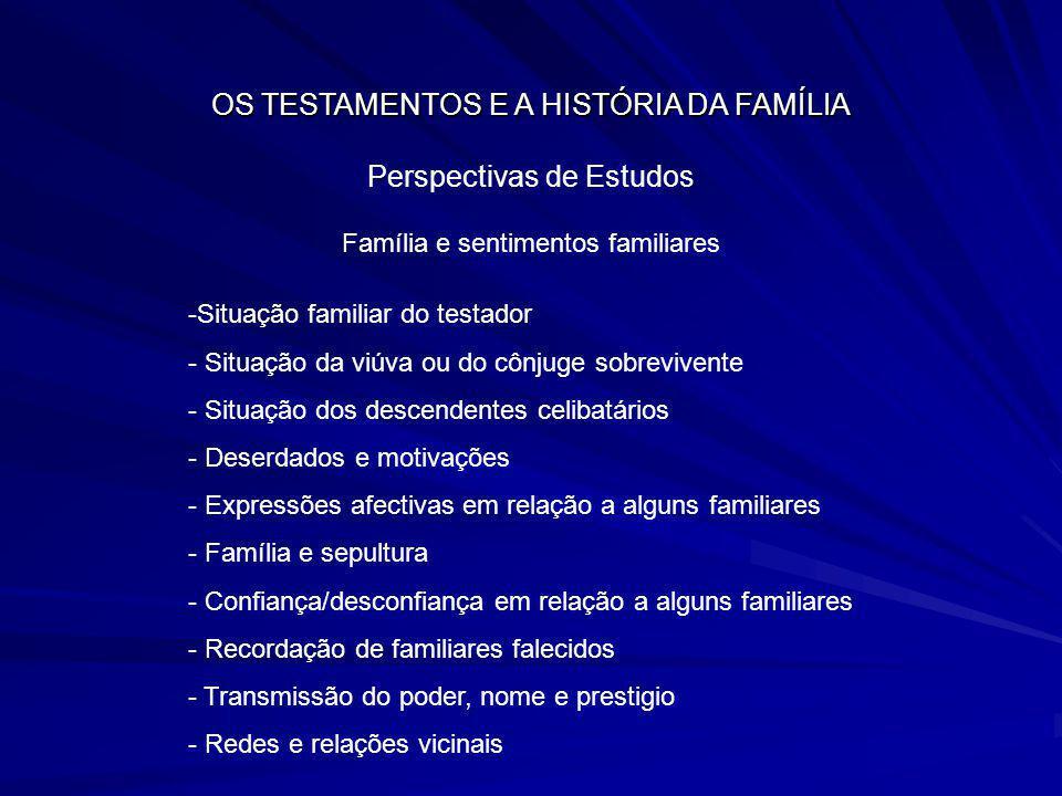 OS TESTAMENTOS E A HISTÓRIA DA FAMÍLIA Perspectivas de Estudos Família e sentimentos familiares -Situação familiar do testador - Situação da viúva ou