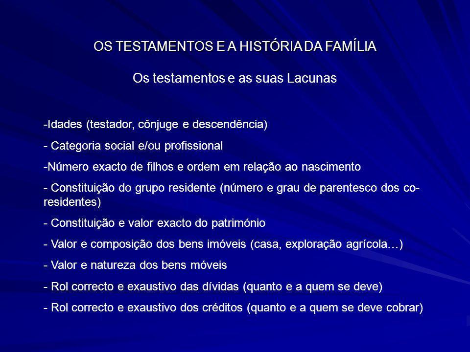 OS TESTAMENTOS E A HISTÓRIA DA FAMÍLIA Os testamentos e as suas Lacunas -Idades (testador, cônjuge e descendência) - Categoria social e/ou profissiona
