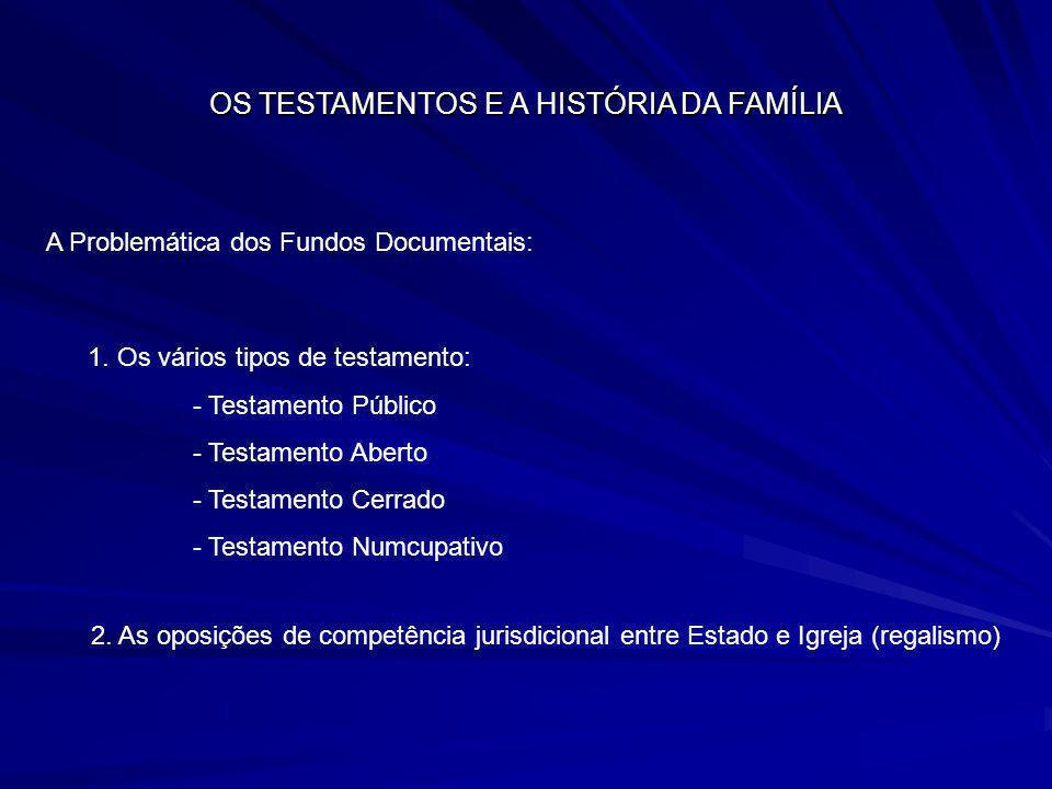 OS TESTAMENTOS E A HISTÓRIA DA FAMÍLIA A Problemática dos Fundos Documentais: 1. Os vários tipos de testamento: - Testamento Público - Testamento Aber