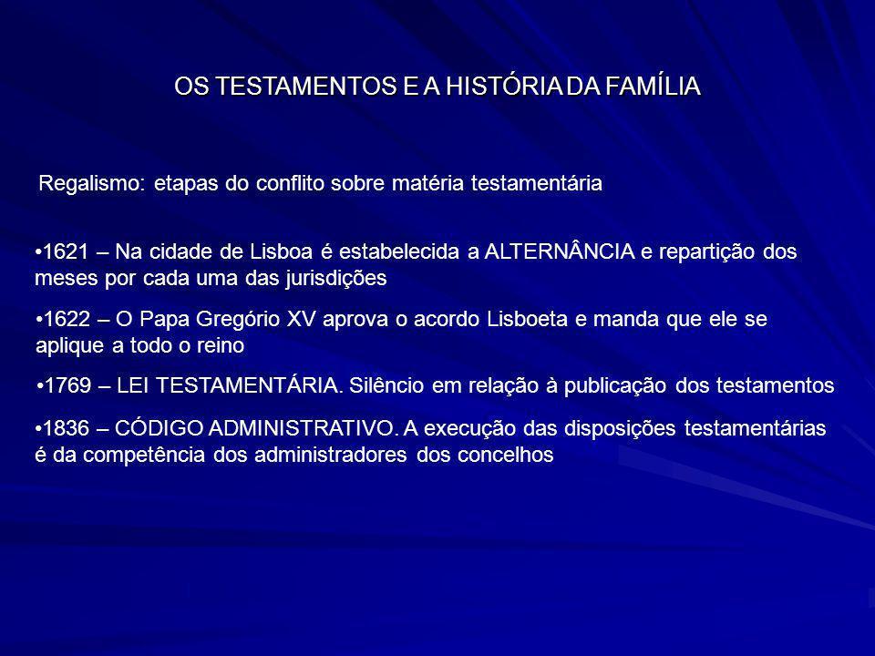 OS TESTAMENTOS E A HISTÓRIA DA FAMÍLIA Regalismo: etapas do conflito sobre matéria testamentária 1621 – Na cidade de Lisboa é estabelecida a ALTERNÂNC