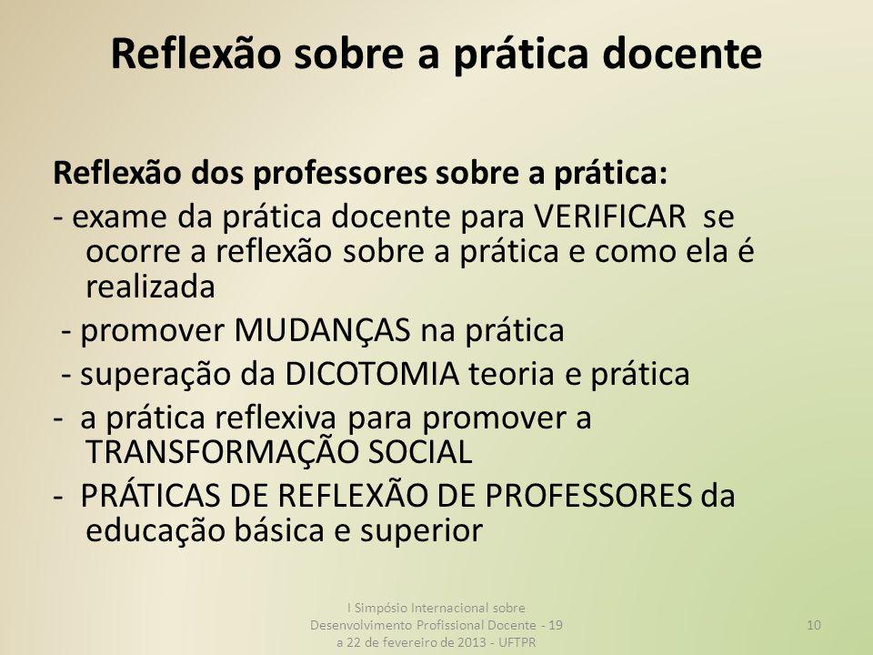 Reflexão sobre a prática docente Reflexão dos professores sobre a prática: - exame da prática docente para VERIFICAR se ocorre a reflexão sobre a prát