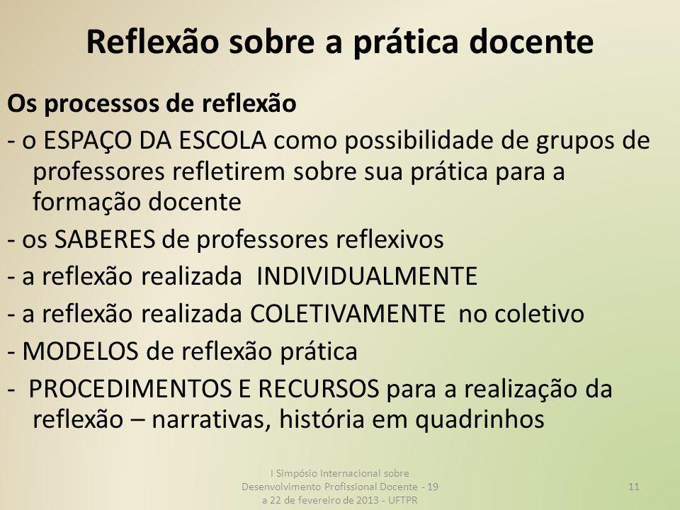 Reflexão sobre a prática docente Os processos de reflexão - o ESPAÇO DA ESCOLA como possibilidade de grupos de professores refletirem sobre sua prátic