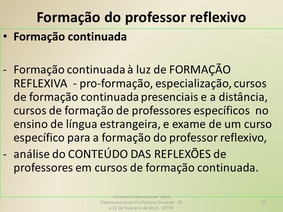 Formação do professor reflexivo Formação continuada -Formação continuada à luz de FORMAÇÃO REFLEXIVA - pro-formação, especialização, cursos de formaçã