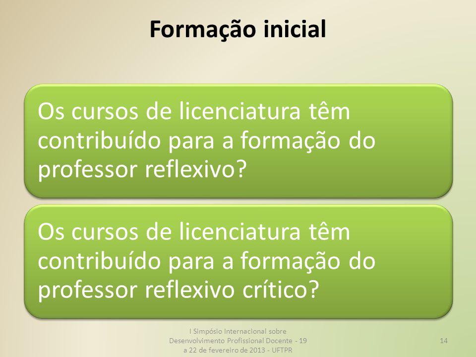 Formação inicial Os cursos de licenciatura têm contribuído para a formação do professor reflexivo? Os cursos de licenciatura têm contribuído para a fo