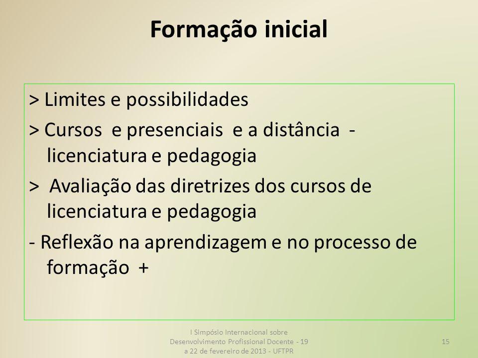 Formação inicial > Limites e possibilidades > Cursos e presenciais e a distância - licenciatura e pedagogia > Avaliação das diretrizes dos cursos de l