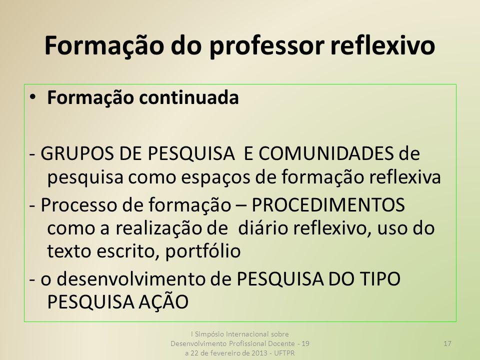 Formação do professor reflexivo Formação continuada - GRUPOS DE PESQUISA E COMUNIDADES de pesquisa como espaços de formação reflexiva - Processo de fo