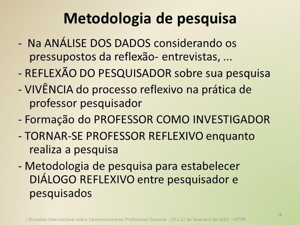 Metodologia de pesquisa - Na ANÁLISE DOS DADOS considerando os pressupostos da reflexão- entrevistas,... - REFLEXÃO DO PESQUISADOR sobre sua pesquisa