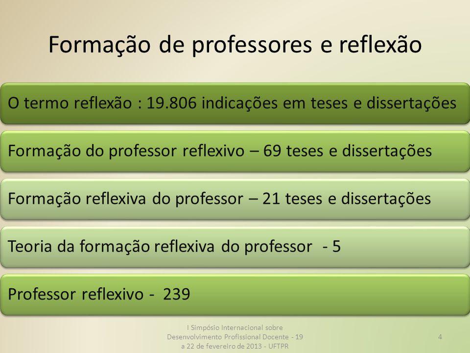 Formação de professores e reflexão O termo reflexão : 19.806 indicações em teses e dissertaçõesFormação do professor reflexivo – 69 teses e dissertaçõ