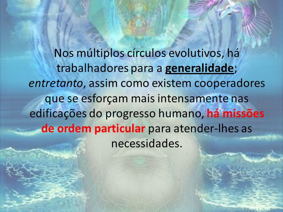 Nos múltiplos círculos evolutivos, há trabalhadores para a generalidade; entretanto, assim como existem cooperadores que se esforçam mais intensamente