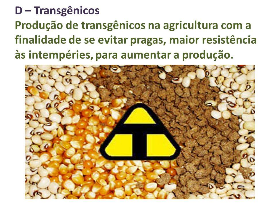 D – Transgênicos Produção de transgênicos na agricultura com a finalidade de se evitar pragas, maior resistência às intempéries, para aumentar a produ