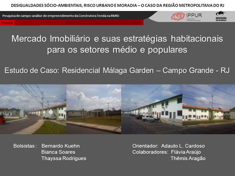 IPPUR Pesquisa de campo: análise de empreendimento da Construtora Tenda na RMRJ Instituto de Pesquisa e Planejamento Urbano e Regional Mercado Imobili