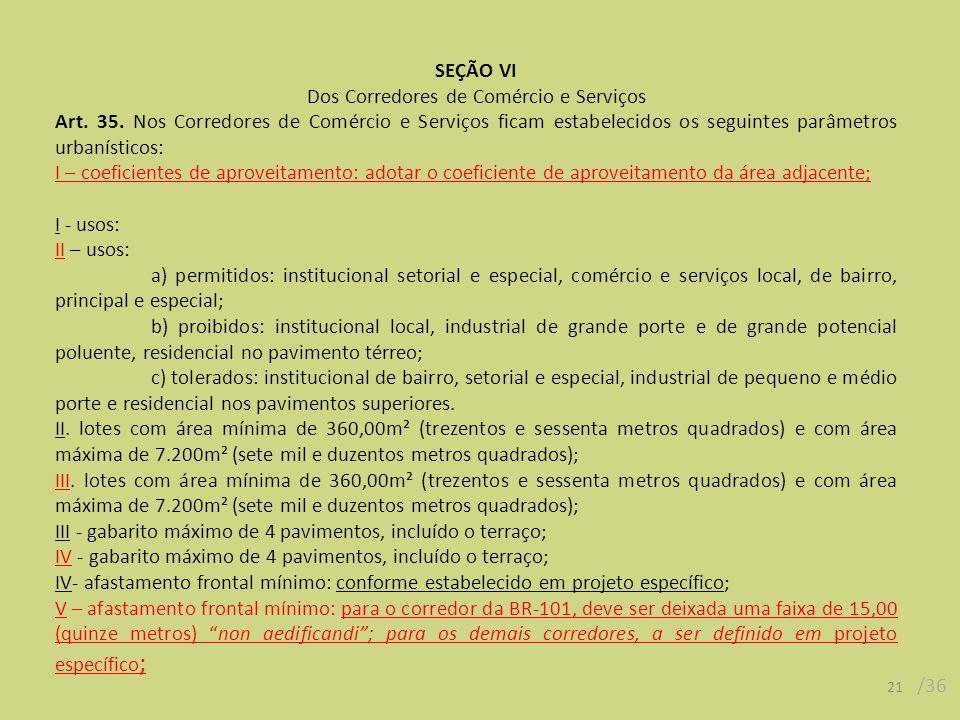 21 /36 SEÇÃO VI Dos Corredores de Comércio e Serviços Art.