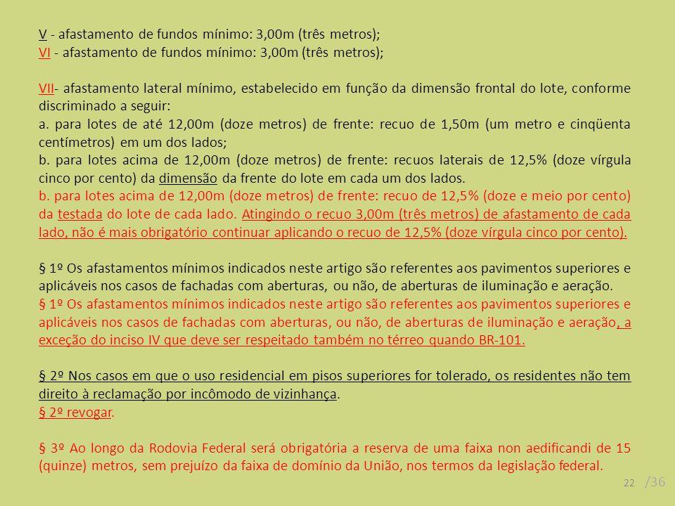 22 /36 V - afastamento de fundos mínimo: 3,00m (três metros); VI - afastamento de fundos mínimo: 3,00m (três metros); VII- afastamento lateral mínimo, estabelecido em função da dimensão frontal do lote, conforme discriminado a seguir: a.