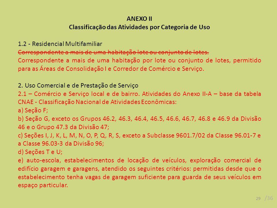 29 /36 ANEXO II Classificação das Atividades por Categoria de Uso 1.2 - Residencial Multifamiliar Correspondente a mais de uma habitação lote ou conjunto de lotes.