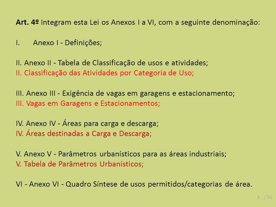 Art. 4º Integram esta Lei os Anexos I a VI, com a seguinte denominação: I.Anexo I - Definições; II.