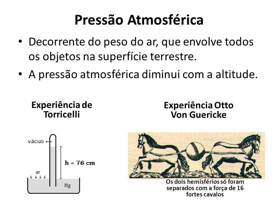 Pressão Atmosférica Decorrente do peso do ar, que envolve todos os objetos na superfície terrestre. A pressão atmosférica diminui com a altitude. Expe