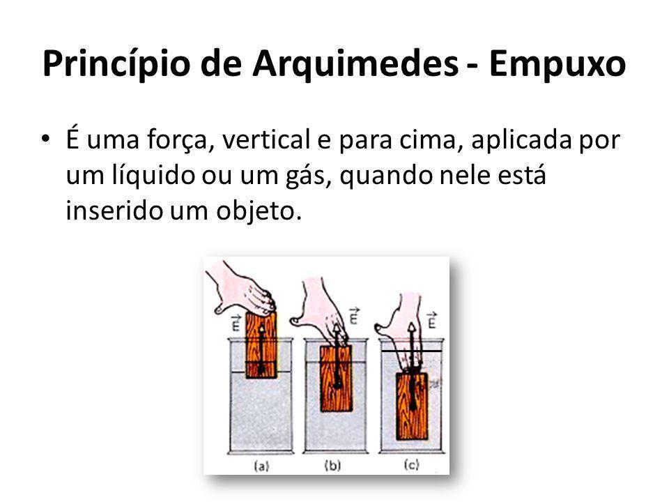 Princípio de Arquimedes - Empuxo É uma força, vertical e para cima, aplicada por um líquido ou um gás, quando nele está inserido um objeto.