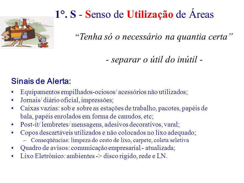 2°.S - Senso de Organização Foco: Arrumação da estação de trabalho.
