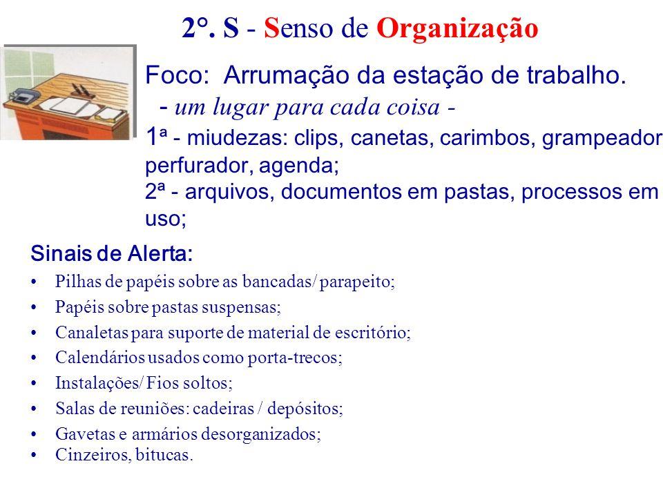2°. S - Senso de Organização Foco: Arrumação da estação de trabalho. - um lugar para cada coisa - 1 ª - miudezas: clips, canetas, carimbos, grampeador