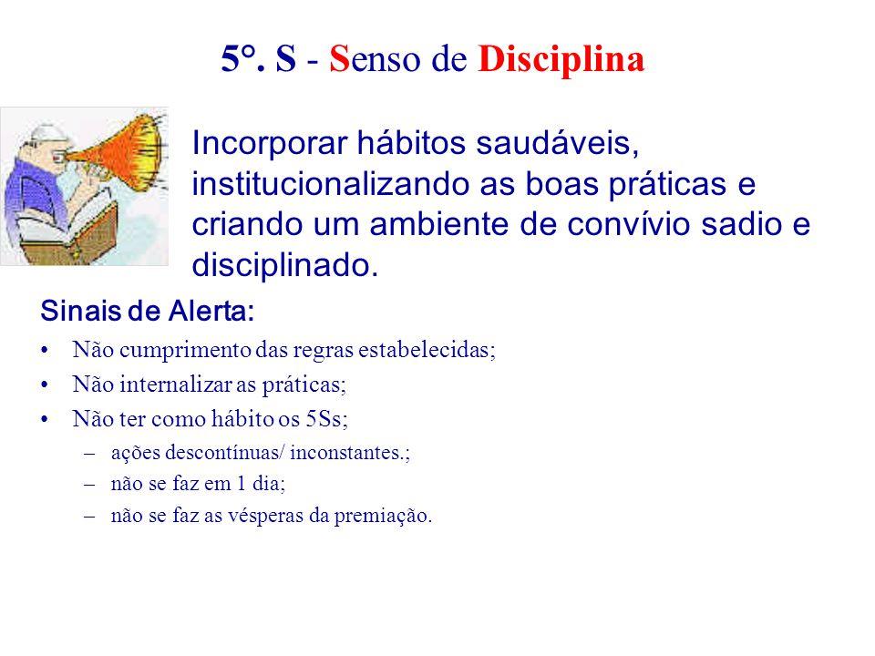 Sinais de Alerta: Não cumprimento das regras estabelecidas; Não internalizar as práticas; Não ter como hábito os 5Ss; –ações descontínuas/ inconstante