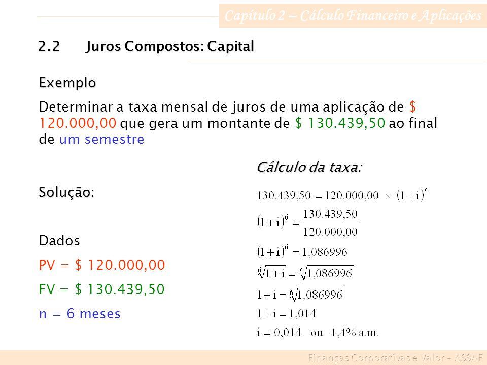 Capítulo 2 – Cálculo Financeiro e Aplicações Exemplo Determinar a taxa mensal de juros de uma aplicação de $ 120.000,00 que gera um montante de $ 130.439,50 ao final de um semestre Solução: Dados PV = $ 120.000,00 FV = $ 130.439,50 n = 6 meses Cálculo da taxa: 2.2Juros Compostos: Capital