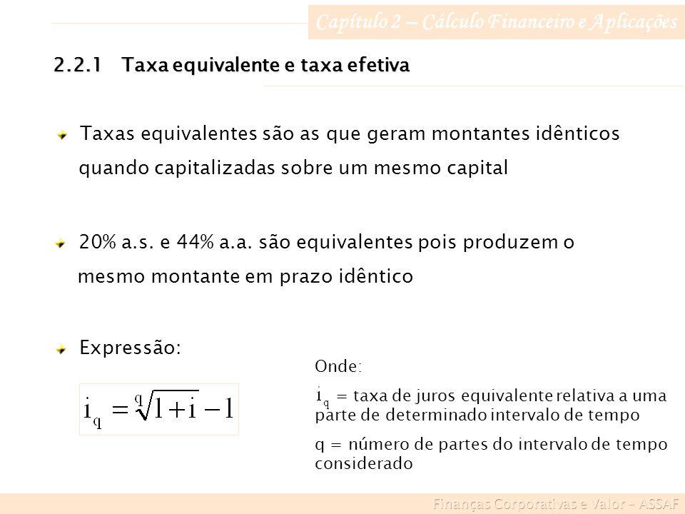 Onde: = taxa de juros equivalente relativa a uma parte de determinado intervalo de tempo q = número de partes do intervalo de tempo considerado Capítulo 2 – Cálculo Financeiro e Aplicações 2.2.1Taxa equivalente e taxa efetiva Taxas equivalentes são as que geram montantes idênticos quando capitalizadas sobre um mesmo capital 20% a.s.