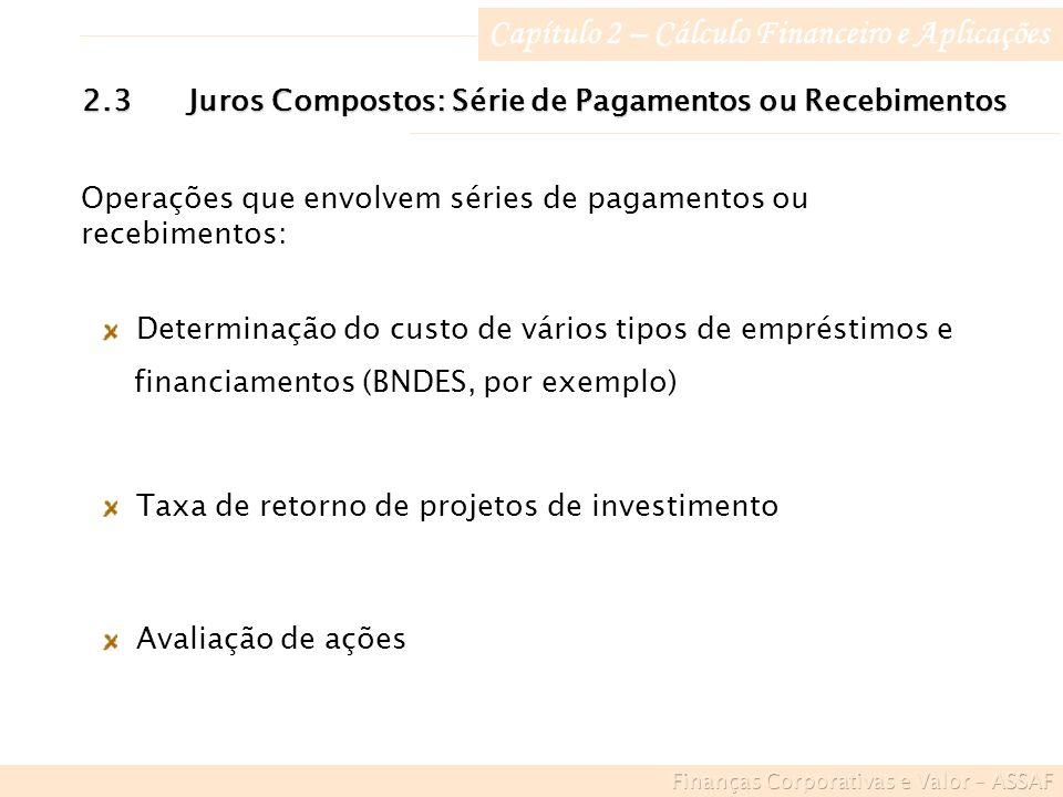 Capítulo 2 – Cálculo Financeiro e Aplicações 2.3Juros Compostos: Série de Pagamentos ou Recebimentos Determinação do custo de vários tipos de empréstimos e financiamentos (BNDES, por exemplo) Avaliação de ações Taxa de retorno de projetos de investimento Operações que envolvem séries de pagamentos ou recebimentos: