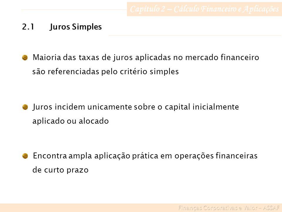 Capítulo 2 – Cálculo Financeiro e Aplicações Maioria das taxas de juros aplicadas no mercado financeiro são referenciadas pelo critério simples Juros incidem unicamente sobre o capital inicialmente aplicado ou alocado 2.1Juros Simples Encontra ampla aplicação prática em operações financeiras de curto prazo