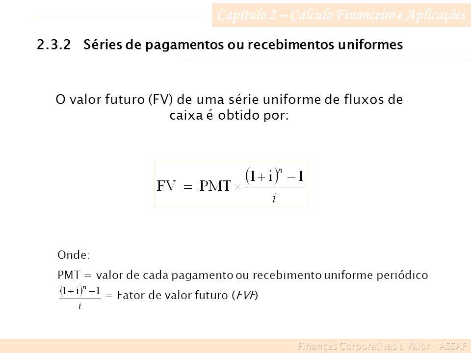 Capítulo 2 – Cálculo Financeiro e Aplicações 2.3.2Séries de pagamentos ou recebimentos uniformes O valor futuro (FV) de uma série uniforme de fluxos de caixa é obtido por: Onde: PMT = valor de cada pagamento ou recebimento uniforme periódico = Fator de valor futuro (FVF)