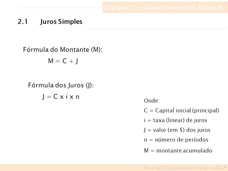Capítulo 2 – Cálculo Financeiro e Aplicações Fórmula do Montante (M): M = C + J 2.1Juros Simples Fórmula dos Juros (J): J = C x i x n Onde: C = Capital inicial (principal) i = taxa (linear) de juros J = valor (em $) dos juros n = número de períodos M = montante acumulado