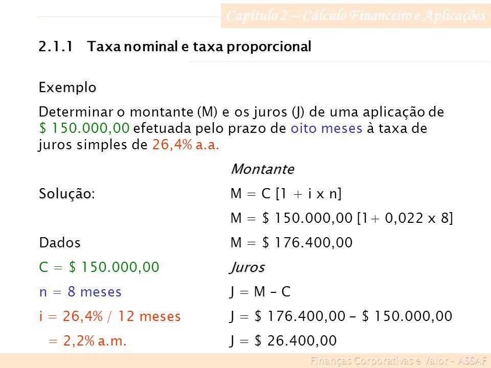 Capítulo 2 – Cálculo Financeiro e Aplicações 2.1.1Taxa nominal e taxa proporcional Exemplo Determinar o montante (M) e os juros (J) de uma aplicação de $ 150.000,00 efetuada pelo prazo de oito meses à taxa de juros simples de 26,4% a.a.