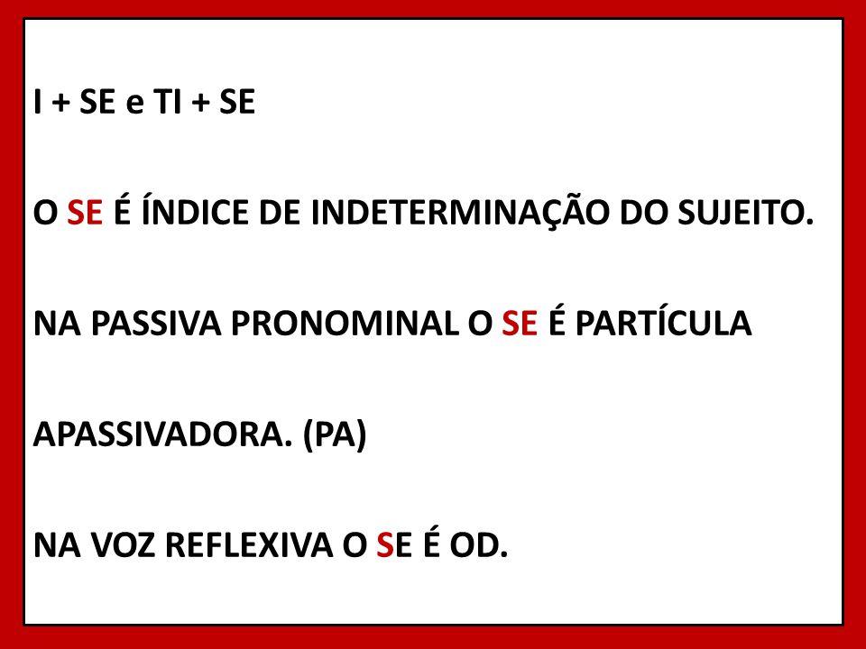 I + SE e TI + SE O SE É ÍNDICE DE INDETERMINAÇÃO DO SUJEITO.