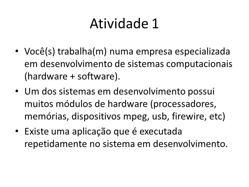 Atividade 1 Você(s) trabalha(m) numa empresa especializada em desenvolvimento de sistemas computacionais (hardware + software).