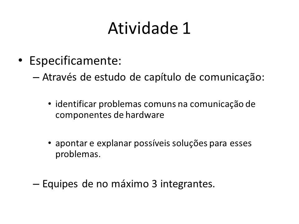 Atividade 1 Especificamente: – Através de estudo de capítulo de comunicação: identificar problemas comuns na comunicação de componentes de hardware apontar e explanar possíveis soluções para esses problemas.