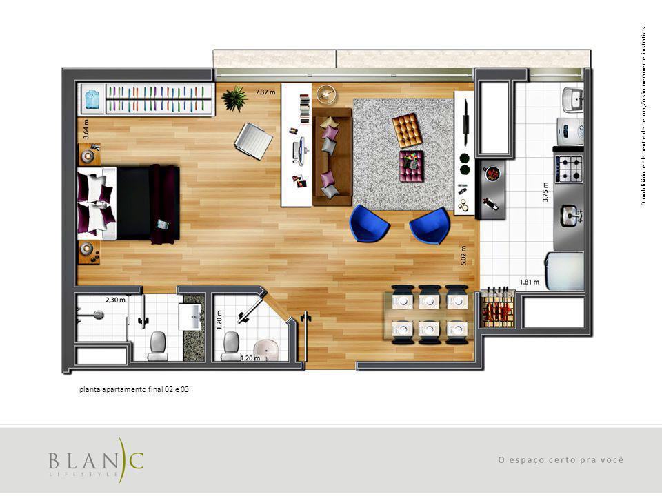 O mobililiário e elementos de decoração são meramente ilustrativos. planta apartamento final 02 e 03