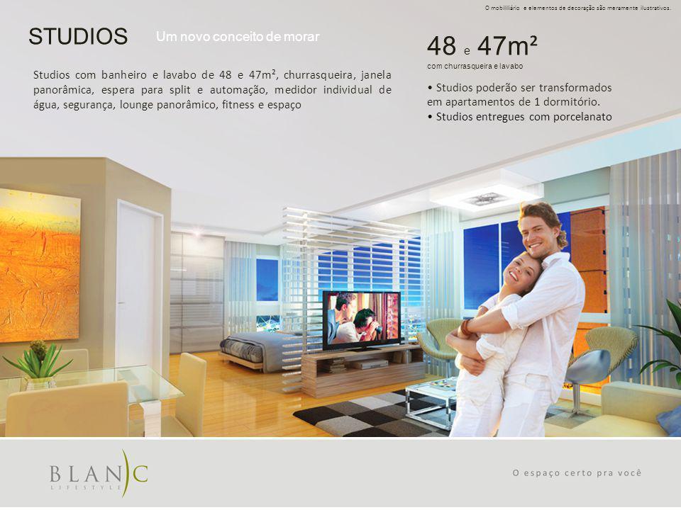 STUDIOS Um novo conceito de morar O mobililiário e elementos de decoração são meramente ilustrativos. Studios com banheiro e lavabo de 48 e 47m², chur