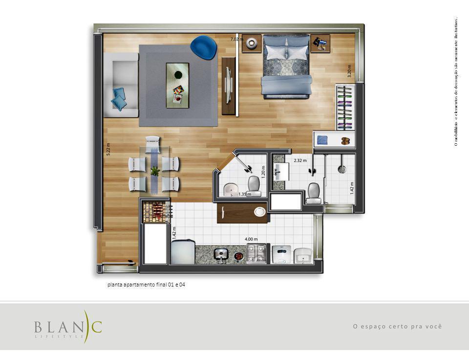 O mobililiário e elementos de decoração são meramente ilustrativos. planta apartamento final 01 e 04