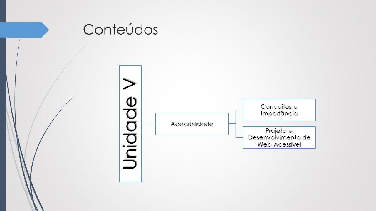 Conteúdos Unidade V Acessibilidade Conceitos e Importância Projeto e Desenvolvimento de Web Acessível